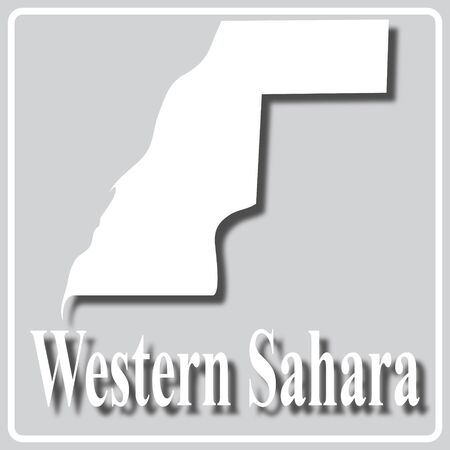 gray square icon with white map silhouette and inscription Western Sahara Ilustração