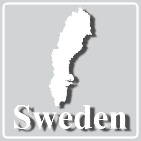 graues quadratisches Symbol mit weißer Kartensilhouette und Aufschrift Schweden