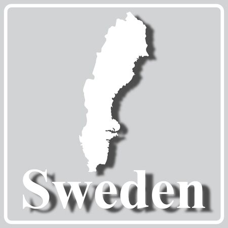 gray square icon with white map silhouette and inscription Sweden Ilustração