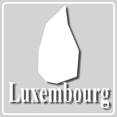 gray square icon with white map silhouette and inscription Luxembourg Ilustração