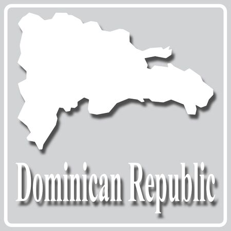 gray square icon with white map silhouette and inscription Dominican Republic