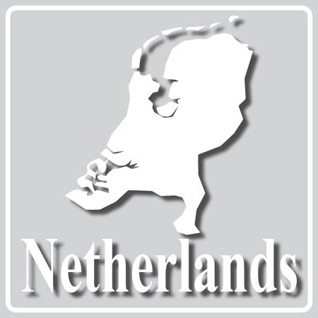 gray square icon with white map silhouette and inscription Netherlands Ilustração