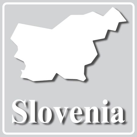 gray square icon with white map silhouette and inscription Slovenia