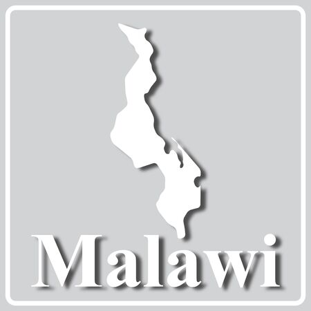 gray square icon with white map silhouette and inscription Malawi