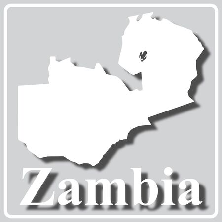 gray square icon with white map silhouette and inscription Zambia