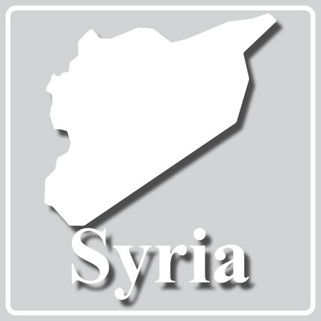 gray square icon with white map silhouette and inscription Syria Illustration