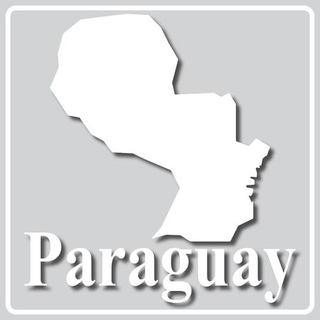 gray square icon with white map silhouette and inscription Paraguay