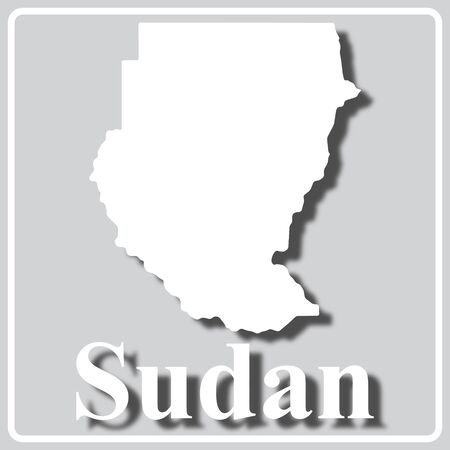 gray square icon with white map silhouette and inscription Sudan