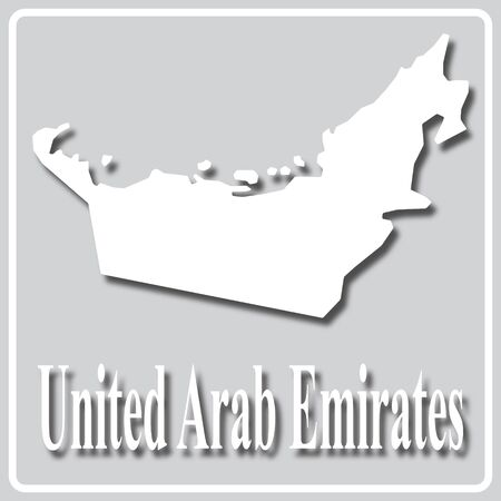 gray square icon with white map silhouette and inscription United Arab Emirates Ilustração