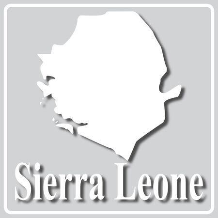gray square icon with white map silhouette and inscription Sierra Leone Ilustração