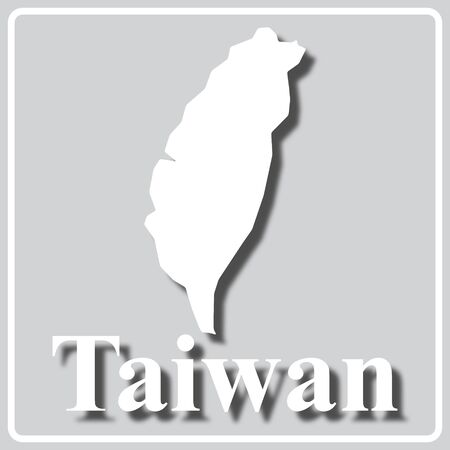 gray square icon with white map silhouette and inscription Taiwan
