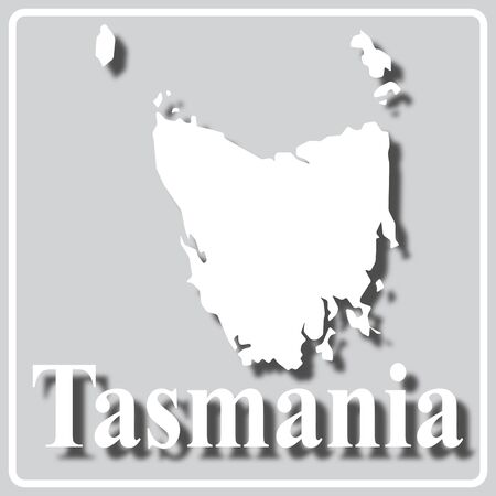 gray square icon with white map silhouette and inscription Tasmania