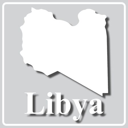 gray square icon with white map silhouette and inscription Libya