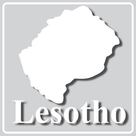 gray square icon with white map silhouette and inscription Lesotho Ilustração