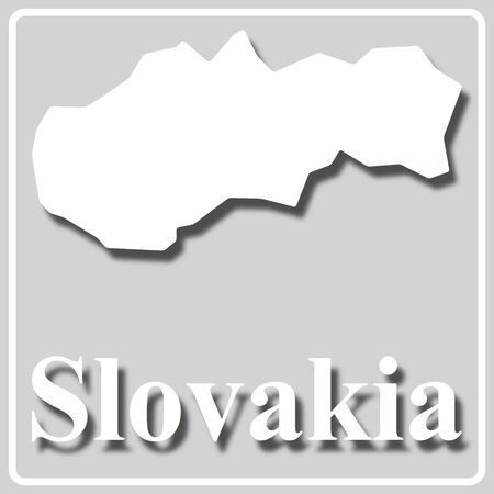 gray square icon with white map silhouette and inscription Slovakia