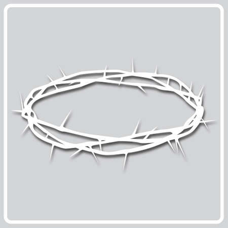 square icon white silhouette of a crown of thorns on a gray background