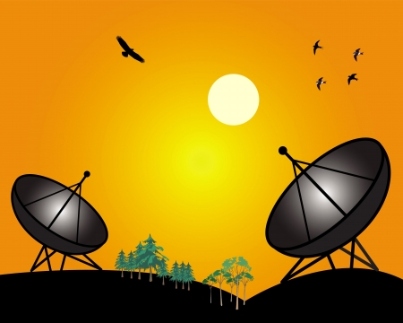 two satellites with flying birds on an orange background