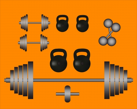 weights barbell weights on an orange background Illustration