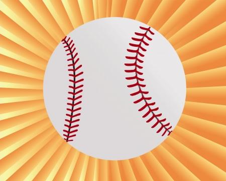 balle de baseball sur un fond jaune-orange Vecteurs