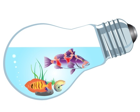 bulb-aquarium with fishes on a white background Vector