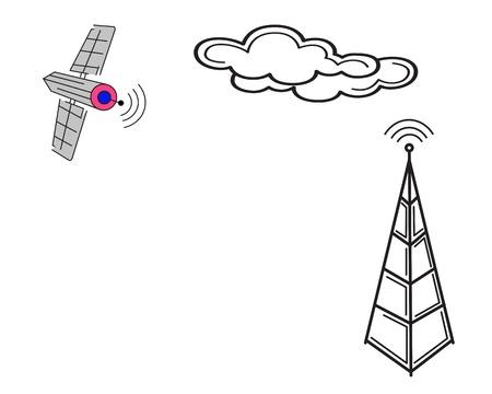 radio and satellite communication antenna on a white background