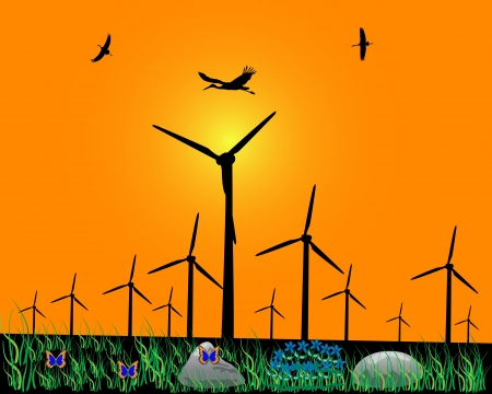 windmills for energy on an orange background Stock Vector - 19892339