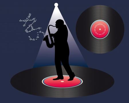 soprano saxophone: saxofonista y vinilo sobre un fondo azul oscuro