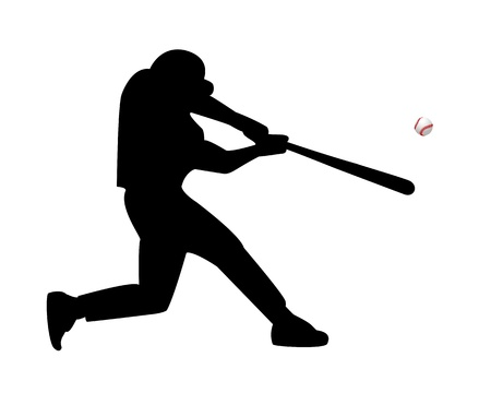 batter: baseball player hits the ball on a white background Illustration