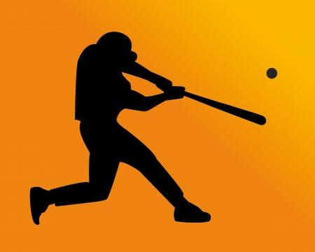 homerun: baseball player hits the ball on an orange background