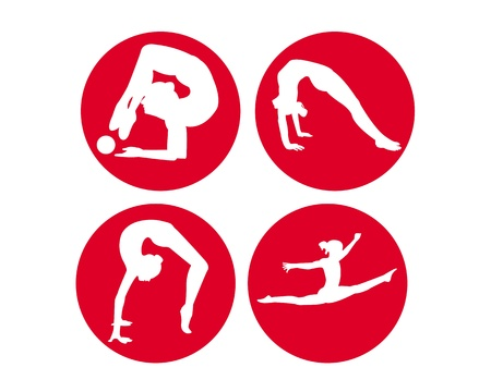 calisthenics: cuatro gimnastas en un fondo blanco con c�rculos rojos Vectores