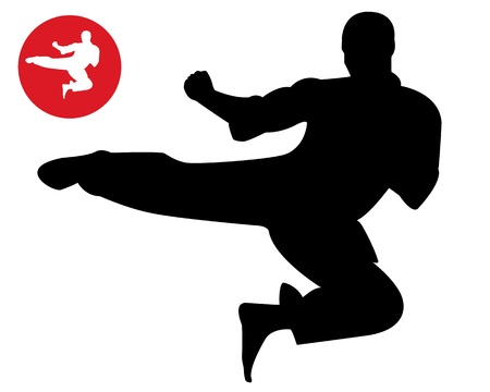 control of body movement: karate in a jump on a white background Illustration