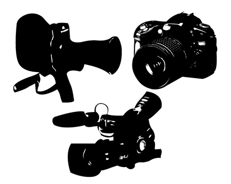 video camera and a camera on a white background Vector