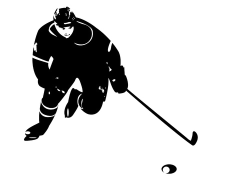 hockey player on white background