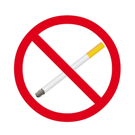 Cigarette stop sign on a white background Vector