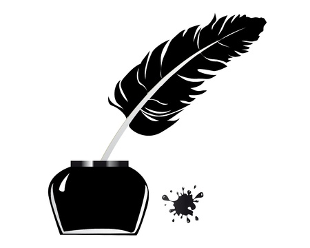inkwell pen and scroll on white background Illustration