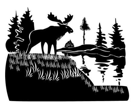 moose stands on a hill on a white background Stock Illustratie