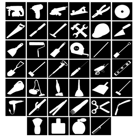 tools, builder, cleaner facilities, a hairdresser on white background