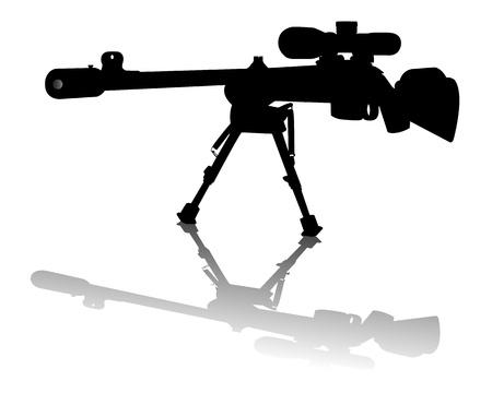 sniper rifle on a white background Illustration
