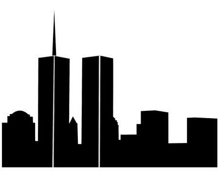 twin towers on a white background Ilustracja