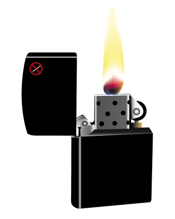 burning cigarette lighter on a white background Stock Vector - 21935643