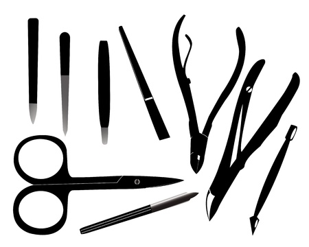 pedicure set: Tools for manicure on a white background Illustration