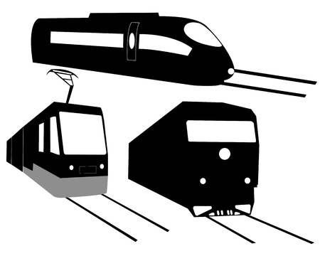 three trains on the tracks on a white background