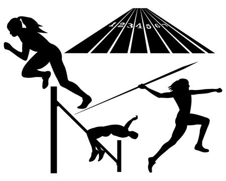 lanzamiento de jabalina: atletismo alta jabalina salto lanzado sobre un fondo blanco Vectores