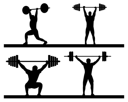 weightlifting snatch push on a white background Ilustracja