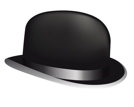 black hat: sombrero negro sobre fondo blanco Vectores
