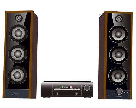 surround: Speaker amplifier speaker on a white background Illustration