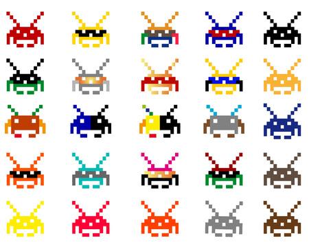 space invaders: space invaders on a white background