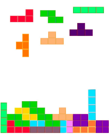 tetris: Tetris computer game on a white background