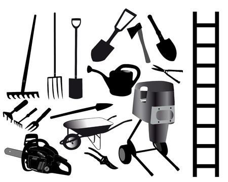 tools for the gardener on a white background Иллюстрация