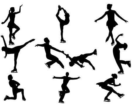 Eiskunstlauf Eiskunstläufer und Eiskunstläufer auf einem weißen Hintergrund